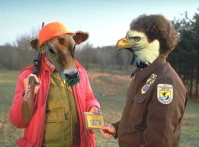 "Anthropomorphic cow ""hunter"" getting a hunting license from a bald eagle/park ranger"