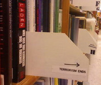 The terrorism section at a bookstore.