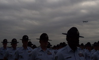 Training instructors at Lackland Air Force Base saluted with a ceremonial fly-over