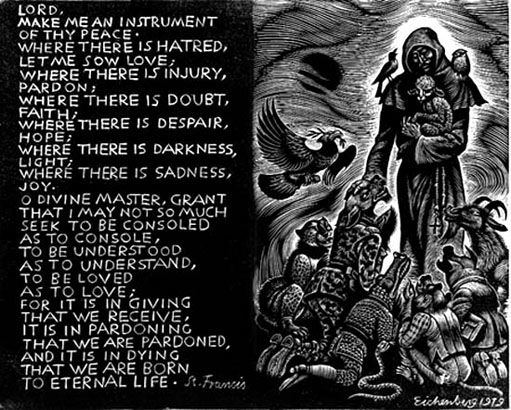 "Fritz Eichenberg, wood engraving, ""The Prayer of Saint Francis"" (1979)"