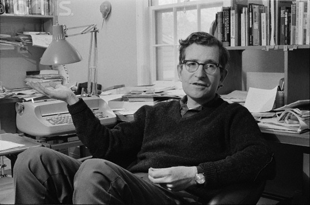 01 Oct 1972, Boston, Massachusetts, USA --- American writer, educator, and linguist Noam Chomsky, at home in Boston. Also know for his political activism he was an early and outspoken critic of U.S. involvement in the Vietnam War having written . --- Image by © JP Laffont/Sygma/Corbis