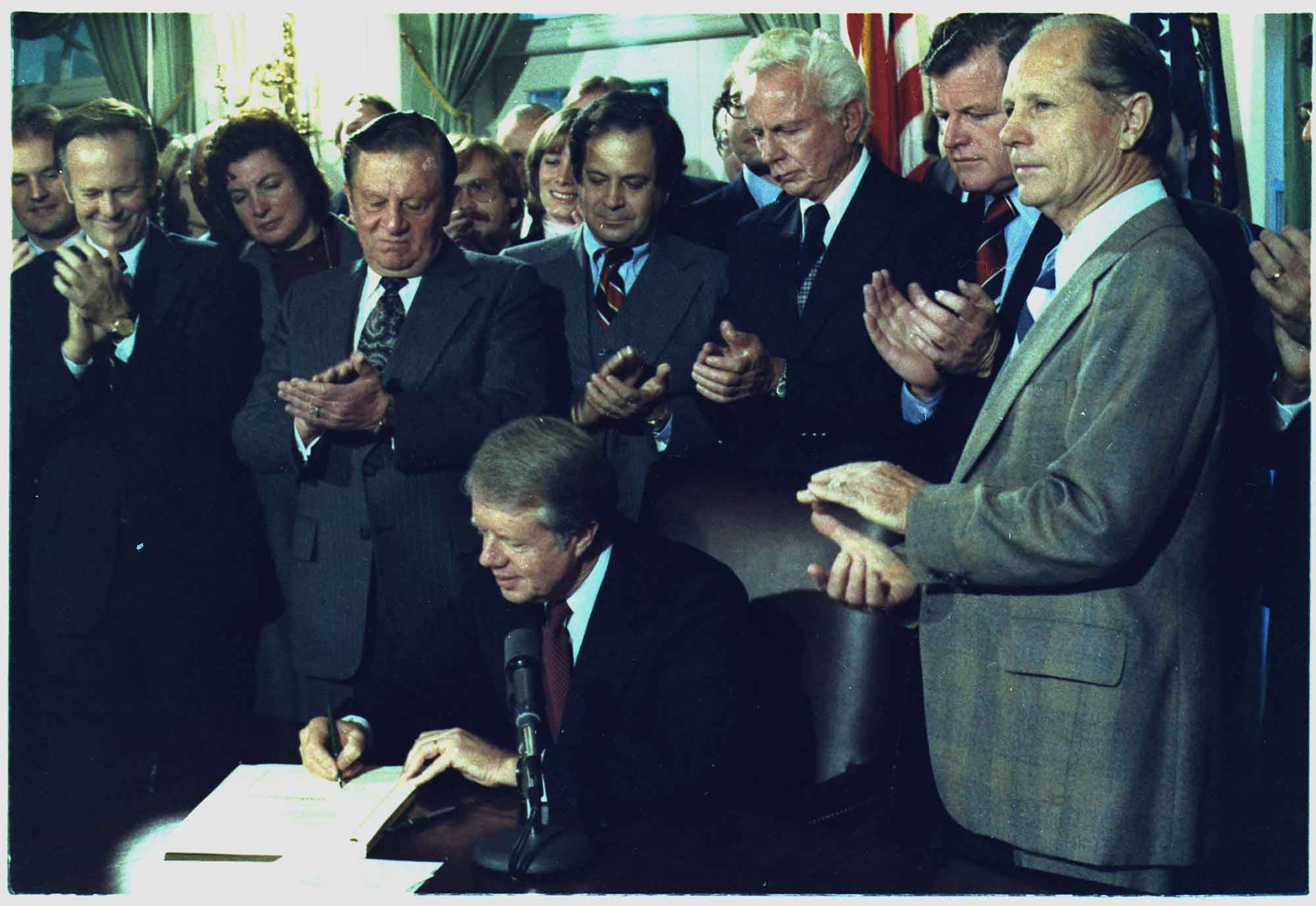 Jimmy Carter signs the Airline Deregulation Act of 1978 (NARA/Wikimedia).