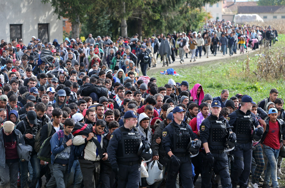 Srdjan Zivulovic/Reuters, migrants walk across Slovenia.